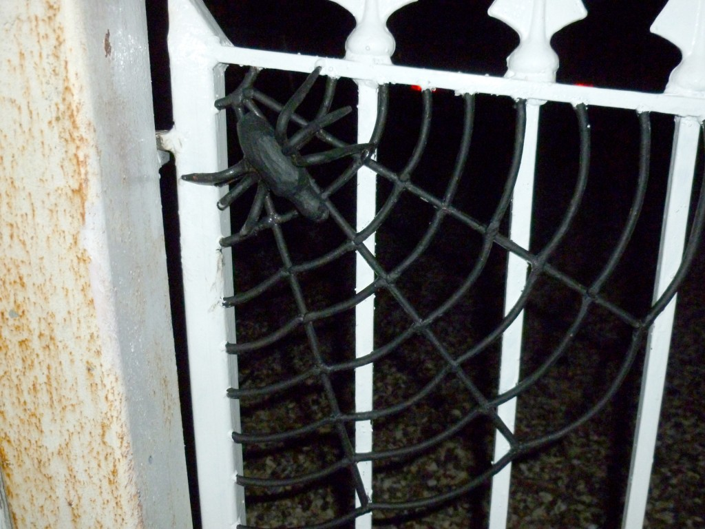 Spiders Web Detail on Flower Design Wrought Iron Gates